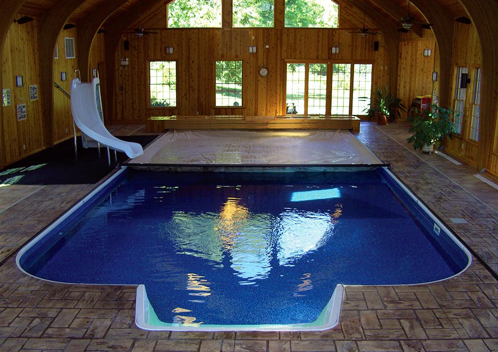 Indoor pool with slide  indoor-pool-cover-unique-roman-deck-toptrack-slide - Cover-Pools