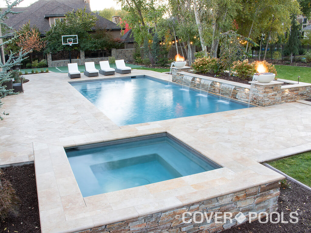 tan automatic pool and spa cover fire and water feature
